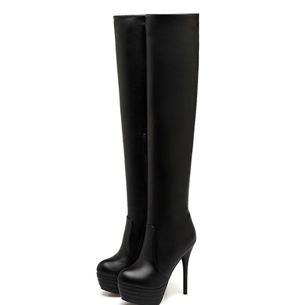 2019 New Women Over-The-Knee Soft Boots Leather Platform Round Toe Thin Spring Charms High Heel Thigh High Over The Knee Boots