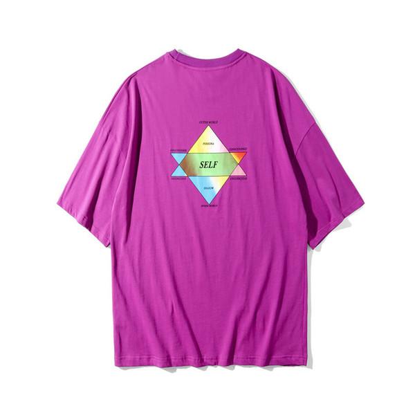 Summer 19ss New Purple Tshirts Mens Street Hiphop Casual Loose Tops Short Sleeved Tees