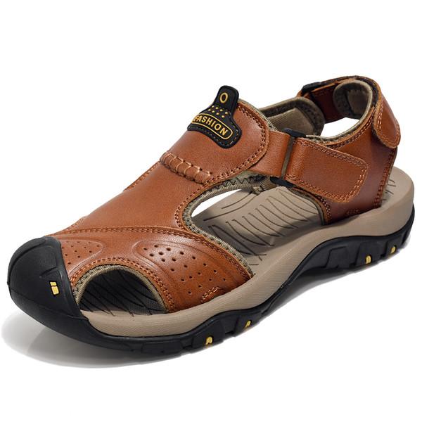 2019 Yeni Sandalia Erkek Rahat Yürüyüş Hakiki Deri Erkekler Açık Yürüyüş Sneakers Yaz Bisiklet Ayakkabı Kahverengi Haki