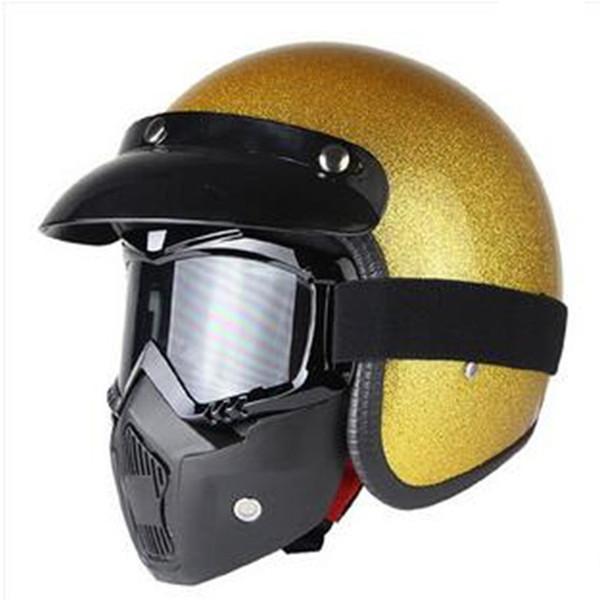 Or briller belle unisexe Vintage moto casques Open Face demi casque de moto Capacete livraison gratuite S M L XL XXL