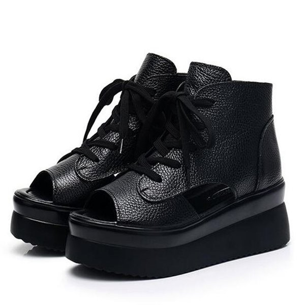 2019 Mais Novo Verão Primeira Camada de Couro De Couro Sandálias Grossas Sapatos de Plataforma Cunhas Sandálias Das Mulheres Sapatos de Moda Sandálias preto