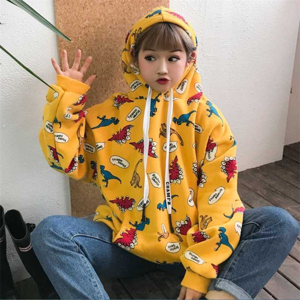 Women's Casual Sweatshirts Japanese Harajuku Ulzzang Bf Dinosaur Print Hoodie Female Korean Kawaii Cute Clothing For Women SH190706