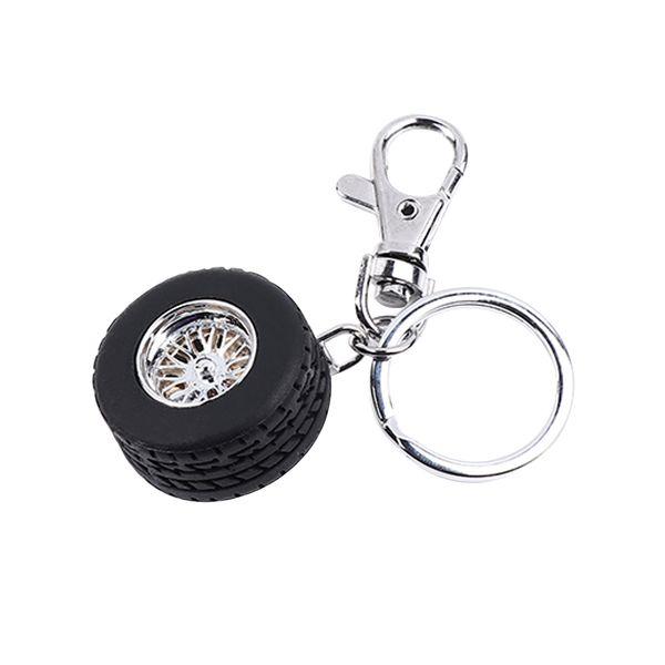 Creative Funny Auto Racing Black Tire Models Key Chain New Alloy Aluminum Trendy Charming Bag Key Accessories Men Holder