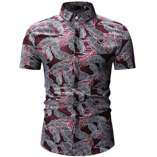 2019Men Shirt Summer Style Palm Tree Print Beach Hawaiian Shirt Men Casual Short Sleeve Hawaii Shirt Chemise Homme 26 color