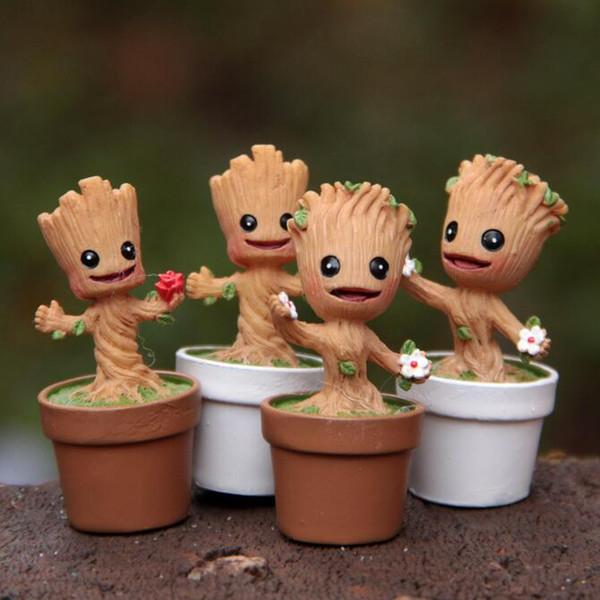 Mini Jardín Maceta Groot juguetes Figura Acción Pop Guardians of The Galaxy Pots Figura Juguetes Home Office decoración LJJK1638