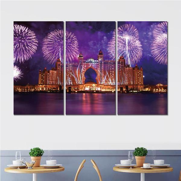 Clássico 3 conjuntos de dubai água fogos de artifício art poster impressão em tela para decoração de casa