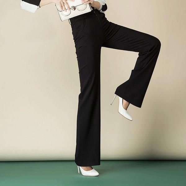 2020 New Spring Plus Size Pants mode femme taille haute large jambe droite belle et longue Pantalon Femme Bleu Bourgogne 6XL 8XL