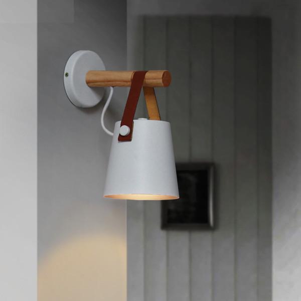 LED Wandleuchte Holz Wandleuchte Bett Nachttischlampe Nachtlichter Moderne Nordic Lampenschirm Wohnkultur Weiß Schwarz Gürtel E27 85-265 V