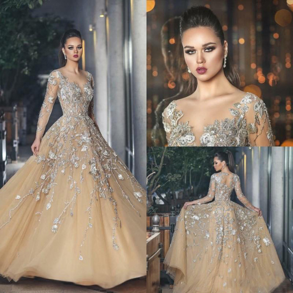 Elegant Champagne Long Sleeve Prom Dresses Sexy Lace Appliques Formal Evening Gowns Sheer Bodice 2019 Plus Size Special Occasion Dress