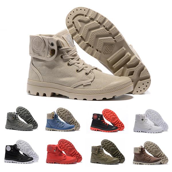 Acquista PALLADIUM 2019 Pallabrouse Uomo Donna Stivali Sneakers In Tela Alto Militare Esercito Caviglia Casual Antiscivolo Designer Scarpe Da Uomo