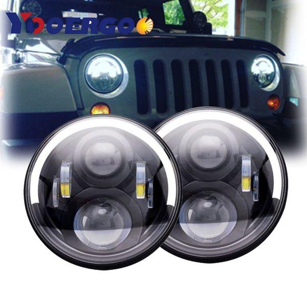 For Jeep Wrangler JK Projector Lens LED Headlights 7 Inch Round DRL High Low Beam Amber Turn Signal For Jk Tj Fj Cruiser Hummer