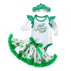 Kids Clothing Girls Bodysuit Tutu Skirt Set St Patrick Day Long Sleeve Romper+Green Clover Printed Lace dress with Crown 3pc/set GGA1585