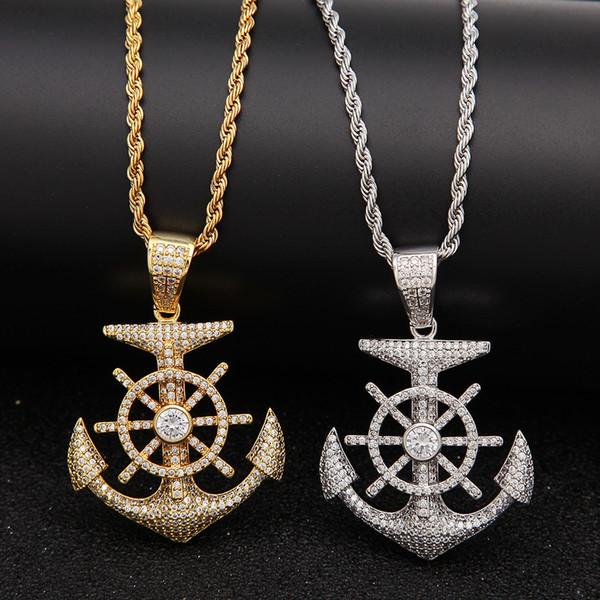 New Fashion Oro Bling CZ Cubic Zirconia Mens Anchor Collana a catena pendente per gli uomini Designer Luxury Hip Hop Rapper gioielli regali per Guys