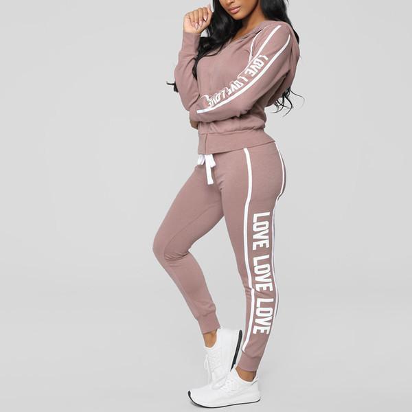 Fashion Women Casual Stripe Zipper Long Sleeve Pullove Sport Tops+Long Pants Set Casual Two Piece Women Tracksuit Outfits
