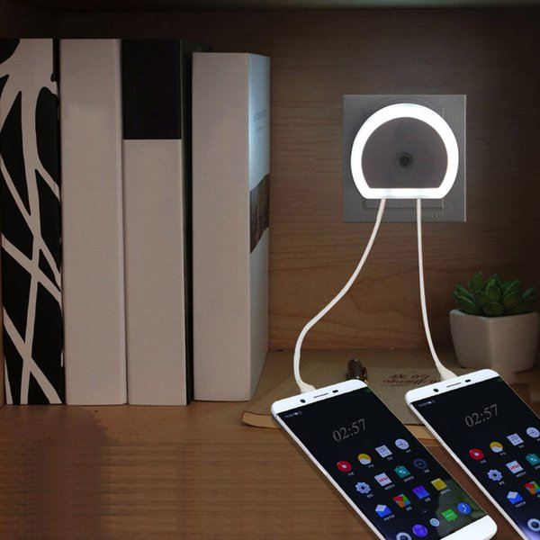 LED Night Light With Dual USB Wall Charger Plug Dusk to Dawn Sensor Wall Lamp for Home decoration Sleeping light