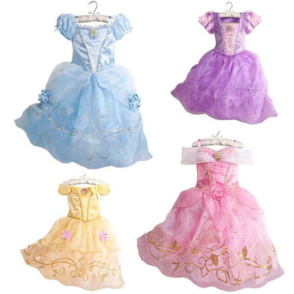 Girls Summer Kids Cinderella Snow White Cosplay Costume Baby Girl Princess Rapunzel Aurora Belle Dress Vestidos Q190522