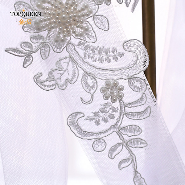 TOPQUEEN WSL03 1.6M Long Veil Lace Headband Bridal Wedding Veil Flowers hairpiece bride headpieces bridal hair accessories