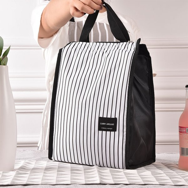 Black White Stripes Portable Thermal Lunch Bags for Women Kids Men Food Picnic Cooler Box Insulated Tote Bag Storage Container D19010902