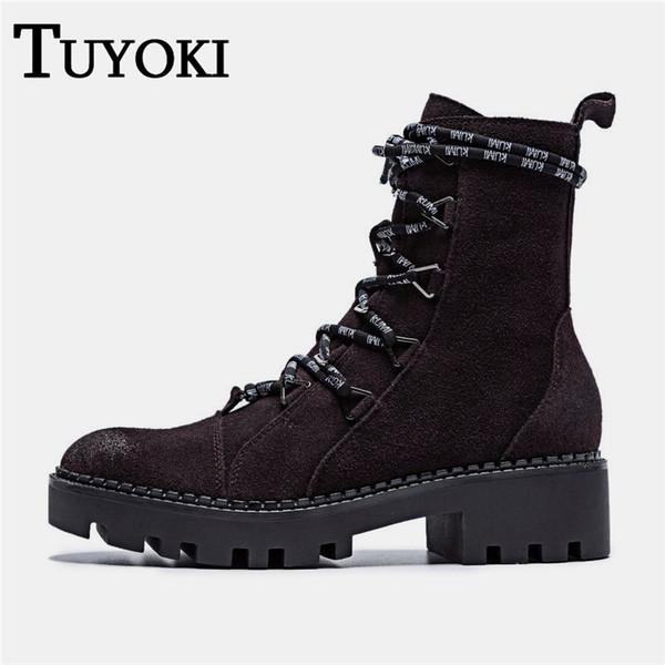 Tuyoki Frauen Echtes Leder Wanderschuhe Sport Frauen Turnschuhe Coole Vintage Klassische Schuhe Starke Ferse Zapatos Größe 34-40