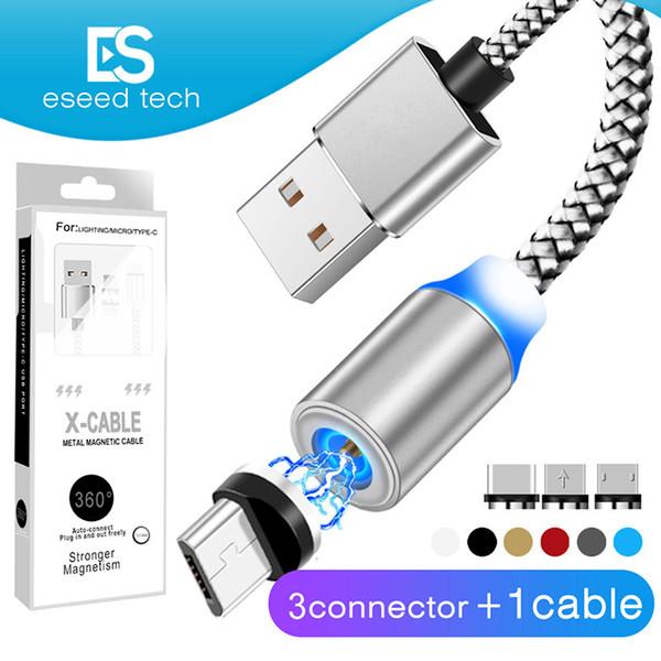 3 en 1 Cable de cargador de succión magnético LED Nylon más fuerte Cable de imán de metal 1M Android Micro USB tipo C cable para Samsung Nota 10 Paquete de LG