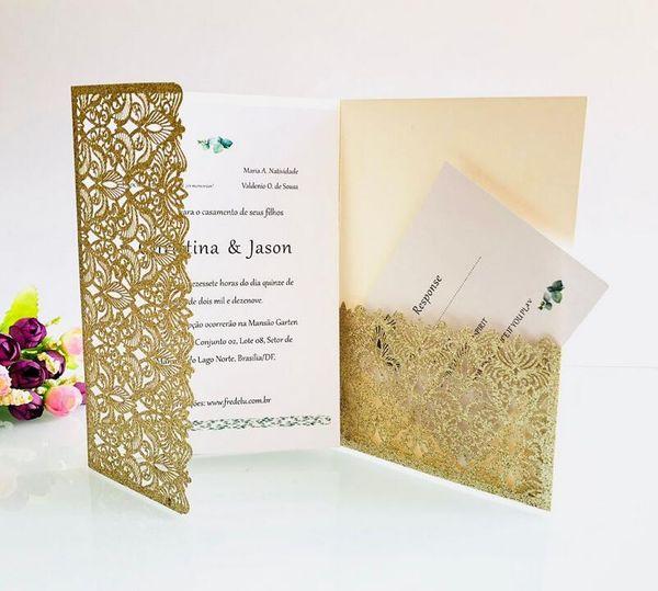 Novo Cartão de Convite de Casamento Oco luxuoso Envelope Elegante, Página Interna, convites de bolso de Corte A Laser de Ouro Brilhante Convites de Ouro