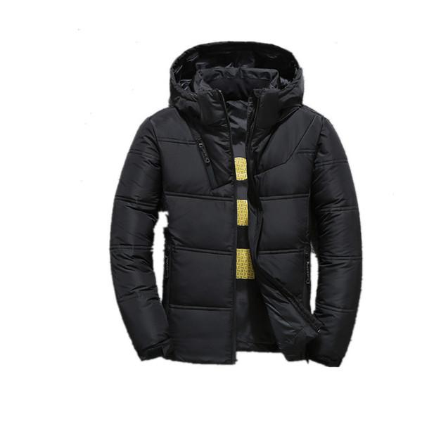 Hombres Invierno Casual Nueva chaqueta con capucha gruesa acolchada sombrero desmontable con cremallera delgado hombres y mujeres abrigos abajo Parka Outwear rojo cálido