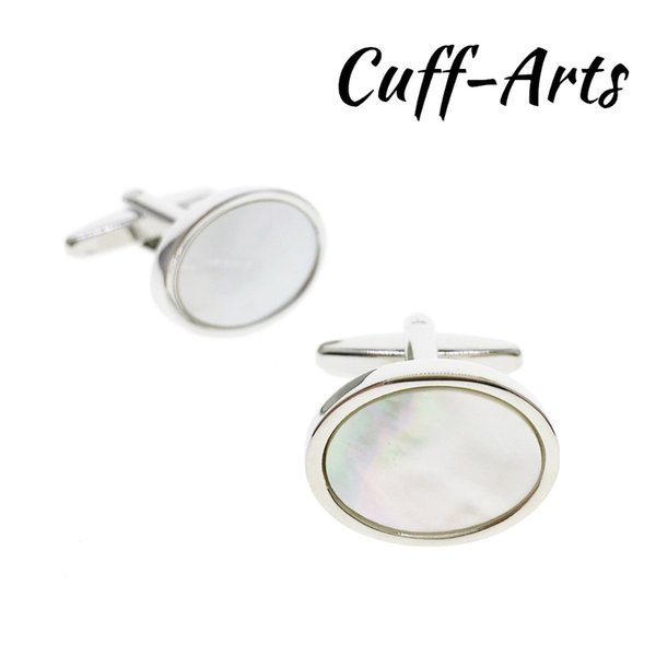 Cufflinks for Men Oval Mother of Pearl Shirt Cuff links Gemelos Bouton De Manchette With Gift Box by Cuffarts C10217