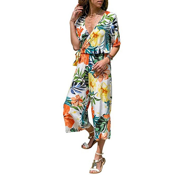 Summer Chiffon Jumpsuit women's suit Women Ladies V-Neck Bandage Lace Up Flower Print Cropped Pants Jumpsuit vadim #20