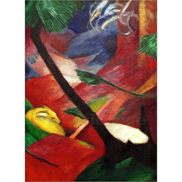 Pintados à mão pinturas de Franz Marc Cervos na floresta II animal arte decoração de parede abstrato