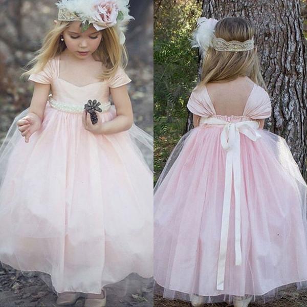 Atacado-Cheap Cap manga Pink Tulle Flower Girl Dress Querida decote Backless A Line Little Girls Vestidos Pageant Com Sash