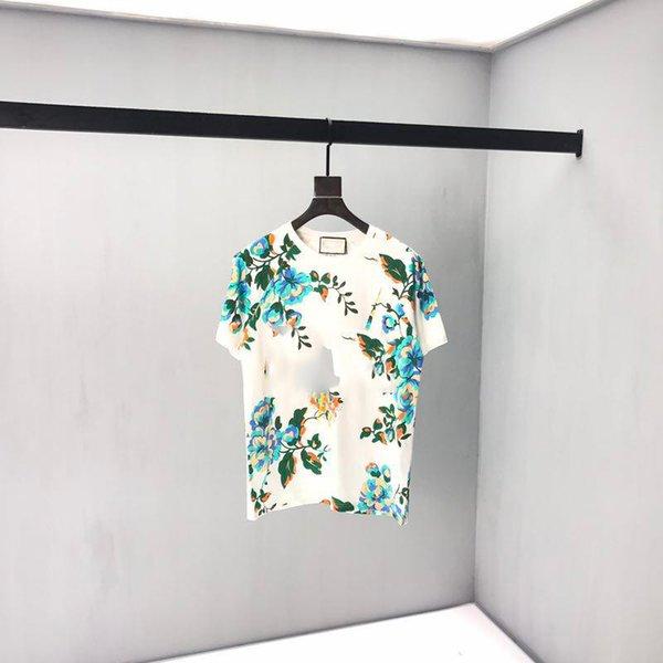 2019 marque italienne début automne dernière couleur assortie fleur haute qualité TEE designer de luxe top mode luxe imprimer beau T-shirt