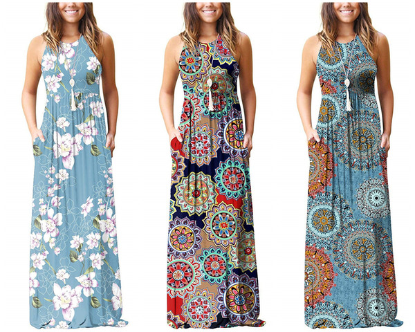 Compre Vestidos De Mujer 2019 Verano Europeo Ee Uu Vestido De Diseñador Vestidos Largos Estampado Floral Sin Mangas Cintura Elástica Ropa De Mujer