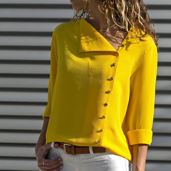 Women Long Sleeve Casual Summer Blouse Tops Blusa Side Button Skew Collar Office Ladies Blouse Shirts