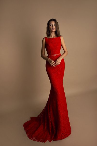 Vestidos De Fiesta 2019 Red Lace Mermaid Evening Dresses With Bateau Neck Backless Evening Gowns Fitted Long Evening Formal Dresses