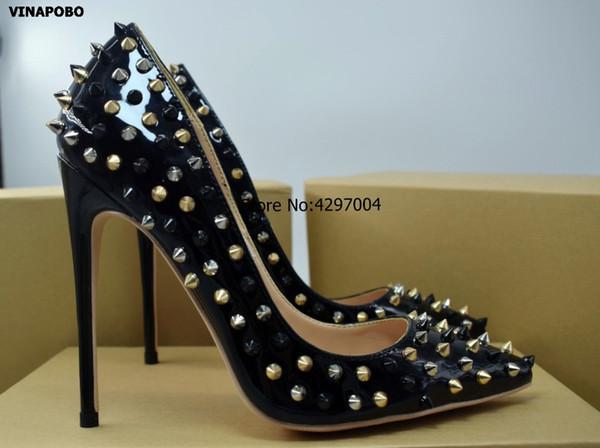 Toptan Sivri Burun Ayakkabı Seksi 12 CM Stiletto Topuklu Düğün Ayakkabı Kadın Siyah Altın Perçinler Sivri Patent Deri Yüksek Topuk Pompalar
