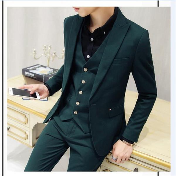 2019 Latest Coat Pant Designs Dark Green Men Suit 3Pieces( Jacket+Pant+Vest+Tie) Csutom Wedding Party Mens Suits Groom Men Suits
