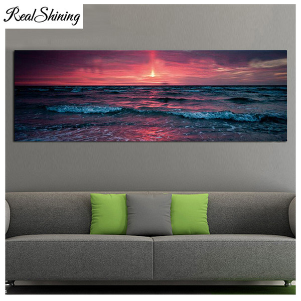 Large 5d diy diamond painting sunset sea waves seascape full square/round drill,mosaic diamond picture diamond embroidery FS5026