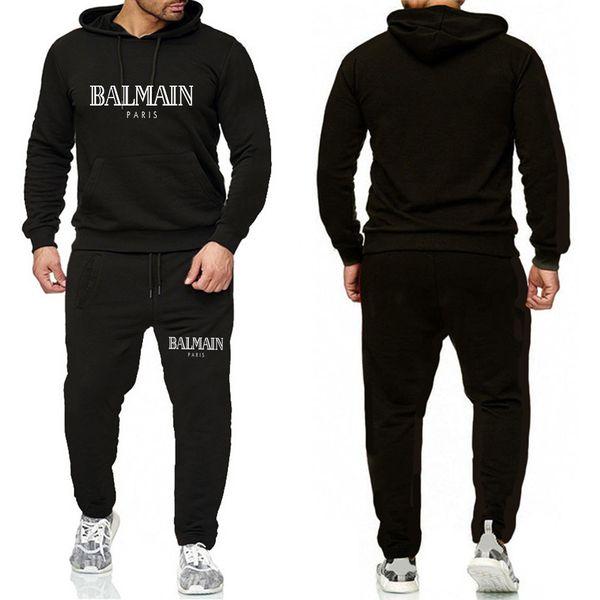 Balmain Tuta Per il rivestimento Men 2 pezzi set nuovo modo sportivo Mens Tuta con cappuccio di autunno della molla dei vestiti Hoodies + Pants