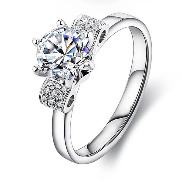0.6Ct Starry Brilliant Synthetic Diamond Wedding Female Ring Solid 925 Sterling Silver Ring White Gold Plated Jewelry