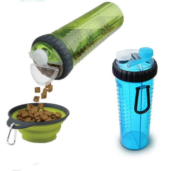collapsable Pet portable Silicone Collapsible Dish Outdoor Bottle Dispenser Travel Dog Water Bowls Snack