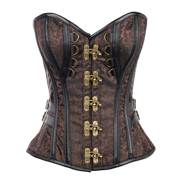 Corzzet Brown Steampunk Vollbrust Lace Up Blumenmuster Gothic Korsetts Bustiers Für Frauen Clubwear Cosplay Outfits