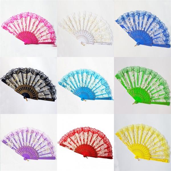 Ventiladores de mano plegables de plástico de 23 cm con ventilador, precio competitivo, buena calidad del producto y varios colores 2 99sz J1