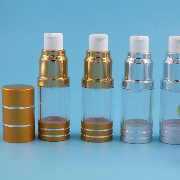 10ml airless bottle silver plastic bottle gold pump/bottom for serum/foundation/ lotion/emulsion containe