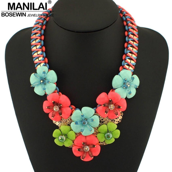 MANILAI Fashion Resins Flowers Statement Necklace Bohemia Neon Ribbon Weave Twined Chain Collars Necklace For Women Jewelry