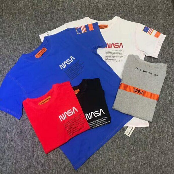 2018SS Kanye West Heron Preston letters printing embroidery USA flag Men Short sleeve T shirt hip hop Fashion Casual Cotton Tee