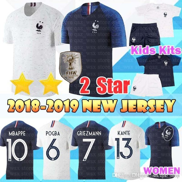 2 tar occer jer ey 10 mbappe 7 griezmann pogba kante matuidi lemar 2018 world cup men women kid kit football hirt, Black;yellow