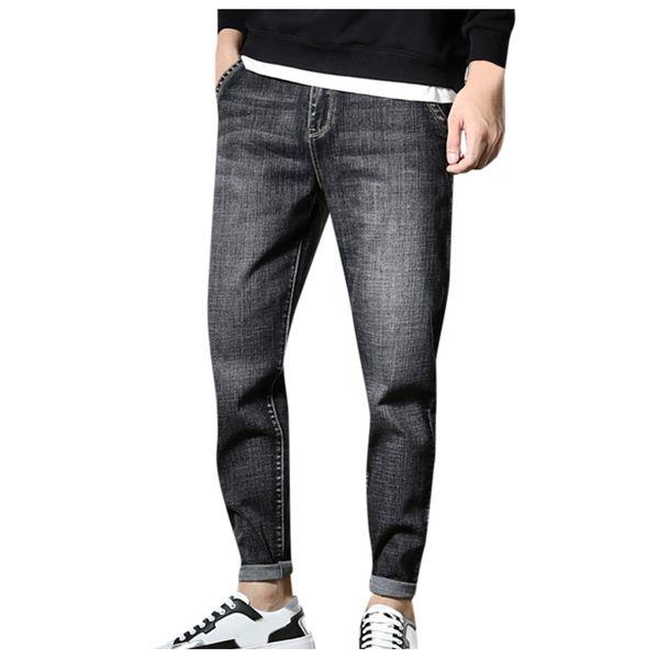 Calça casual mens Plus Size dos homens Casual Denim Safari Estilo calças soltas Jeans calças compridas Calças