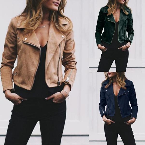 2019 осень-зима новый стиль женская куртка плюс размер отворотом диагональной молнии короткая женская рубашка женские пальто уличная одежда куртки одежда