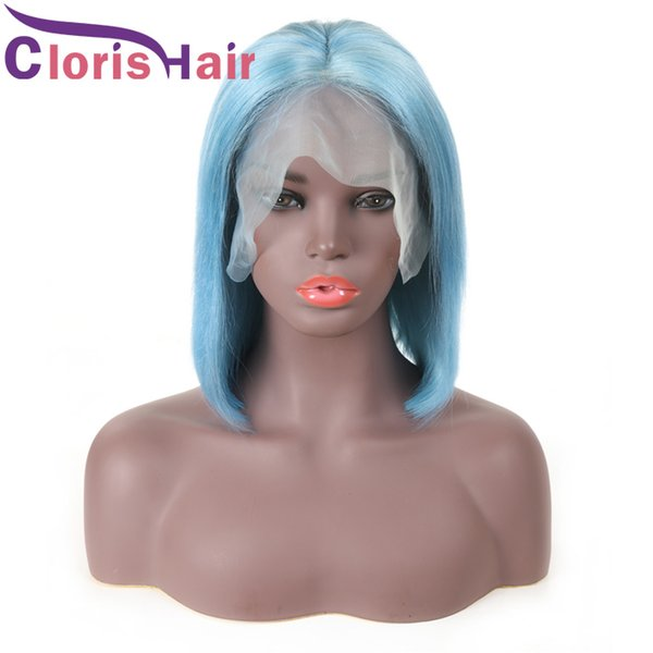 Pure Blue Short Pixie Human Hair Glueless Lace Front Wigs For Black Women Straight Brazilian Full Lace Bob Wig Pre Plucked Natural Hairline