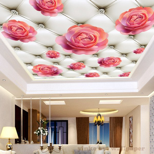 Kundenspezifische Decken-Wand-Tapeten-3D rosafarbene Rose des Diamanten 3D Wohnzimmer-Schlafzimmer-Decken-Hintergrund-Foto-Tapeten-Wandbekleidungen